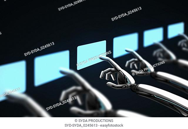 robot hands touching virtual screens over black
