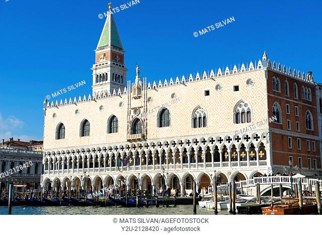 Doge's palace and bell tower with blue sky in Venice Italy