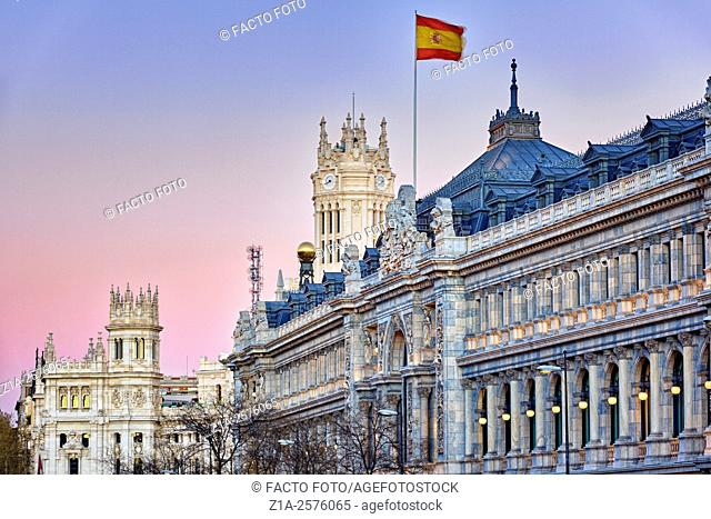 Detail of the Bank of Spain facade and the city hall at Cibeles square. Madrid. Spain