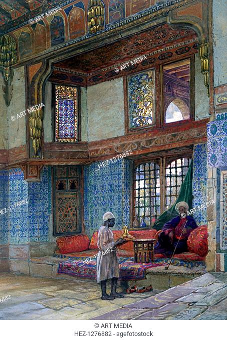 'Recess in the reception room of Mufti Sheik El Mahadi's house, Cairo', 1873. Found in the collection of the Victoria & Albert Museum, London