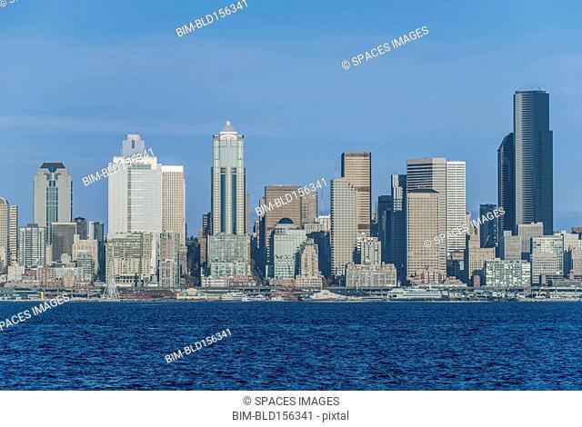 Buildings in Seattle city skyline, Washington, United States