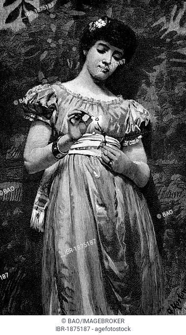 He loves me, he loves me not, historical illustration, circa 1886