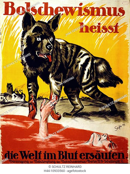 First World War, WWI, World War I, world war, war, Europe, propaganda, poster, Germany, Europe, German, propaganda poster, Wolf, blood, man, drown, destruction