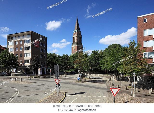 Germany, Kiel, Kiel Fjord, Baltic Sea, Schleswig-Holstein, traffic street, thoroughfare, crossroads, priority road, give way sign, yield sign