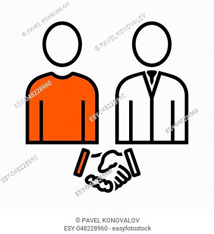 Two Man Making Deal Icon. Thin Line With Orange Fill Design. Vector Illustration