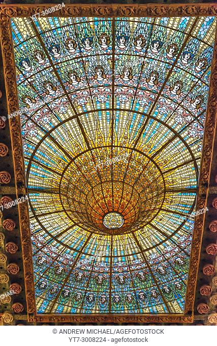 Barcelona in Catalonia, Spain. Stained glass skylight in Palace of Catalan Music (Palau de la Musica Catalana)