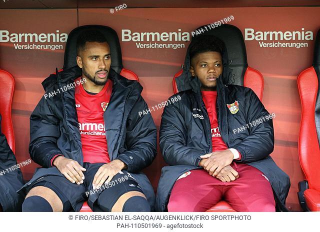 firo: 20.10.2018 Football, Football: 1. Bundesliga, Season 2018/2019 Bayer 04 Leverkusen - Hanover 96 Substitute Bank, Bank, Substitutes, Reserves