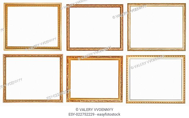 set of ancient classic wooden picture frames