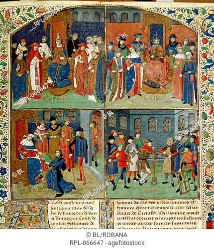 Duc de Berry receiving the book, Miniature and text Miniature in four compartments: the clergy, the nobility, Jean, Duc de Berry receiving the book