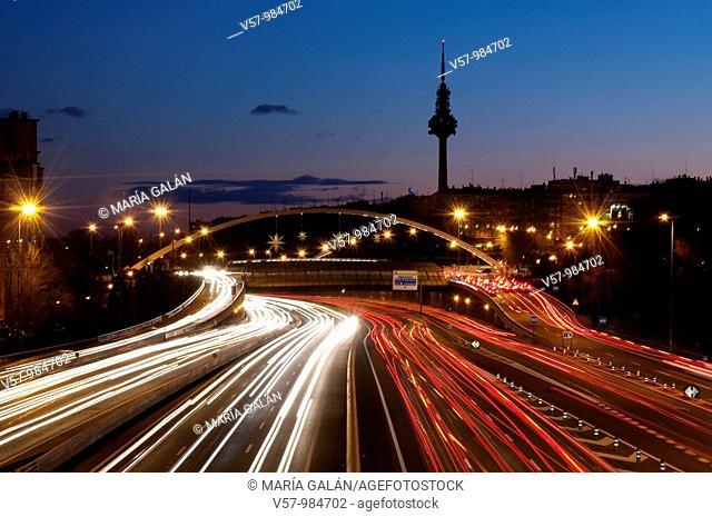 M-30 motorway, Torrespaña and Ventas bridge, night view. Madrid, Spain