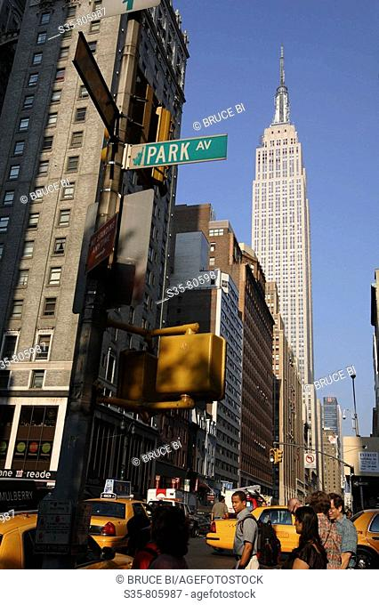 View of Empire State Building from Park Avenue, New York City. USA