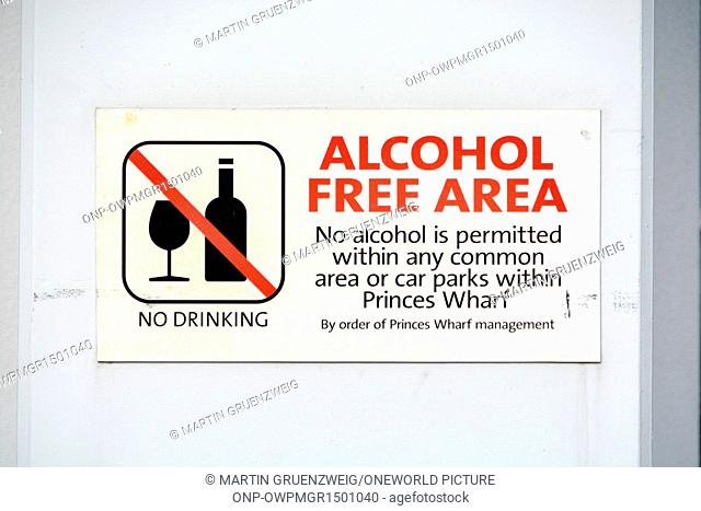 New Zealand, Auckland, Alcohol Free Area at the Port of Auckland