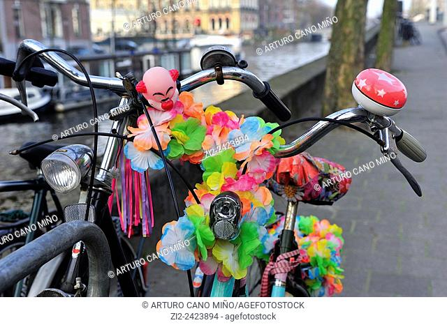 Decorated bicycle. Amsterdam, The Netherlands