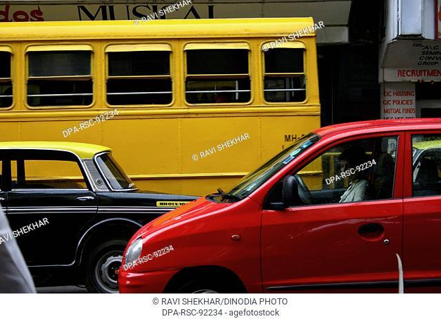 Cars Vehicles Automobiles , Street Scene , Kalbadevi Road , Bombay Mumbai , Maharashtra , India