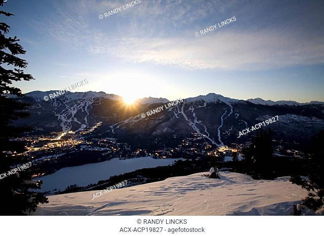 Whistler Village at dawn with Blackcomb Mountain and Whistler Mountain beyond, British Columbia, Canada
