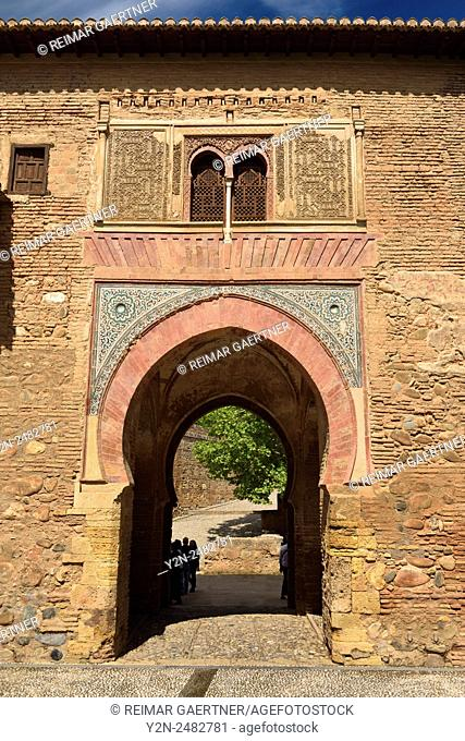 East side of Wine Gate or Puerta del Vino at Alhambra Palace Granada Spain