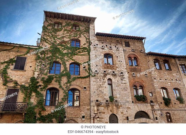 Beautiful old hgouses with peculiar facades in Italy