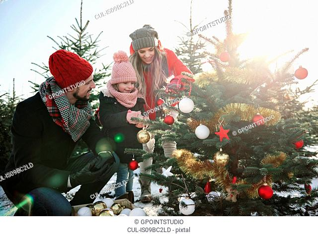 Girl and parents looking at baubles on forest christmas tree