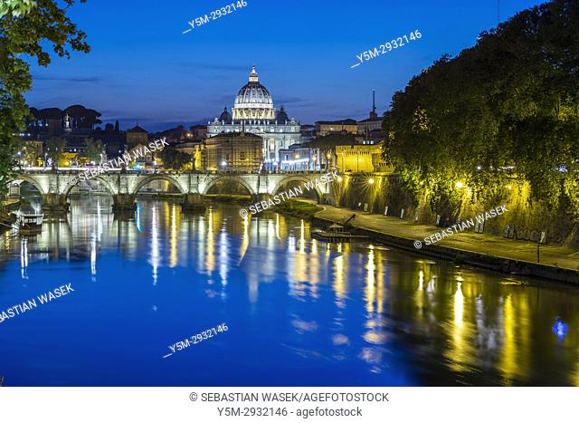St Peter's Basilica and Ponte Sant'Angelo seen from Ponte Umberto I, Rome, Italy, Europe