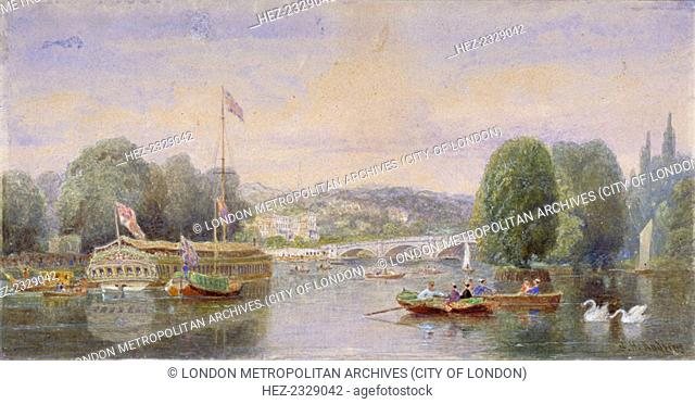 The River Thames with Richmond Bridge and Richmond Hill in the distance, London, 1867. View showing boats and barges on the water