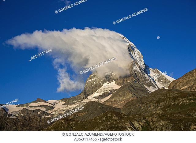 Matterhorn mountain peak. Cervino mountain peak. Zermatt. Swiss Alps . Valais. Switzerland. Europe