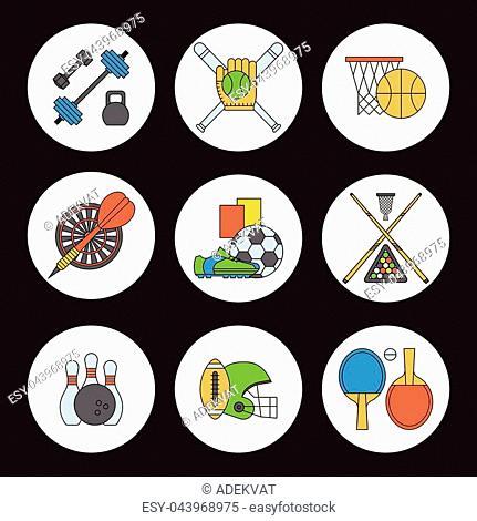 Set of sport vector icons in flat design line pictogram fitness sportsmen symbol game trophy competition dumbbell activity illustration