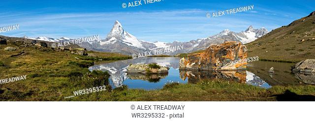 The Matterhorn reflected in Stellisee lake in the Swiss Alps, Switzerland, Europe
