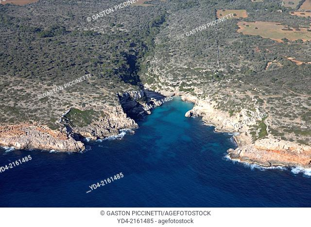 Aerial View of Cala des Marmols, Santanyi, Mallorca, Balearic Island,Spain