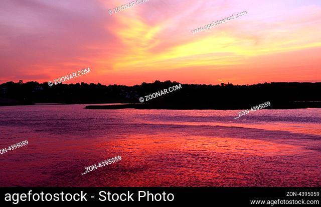 Vibrant sunset on the beach at sunset, Devon