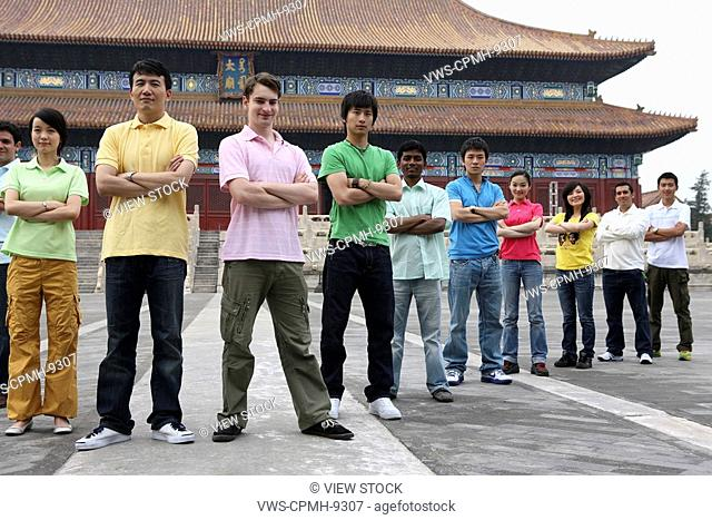 People From Different Countries Being Together In The Forbidden City, Beijing, China