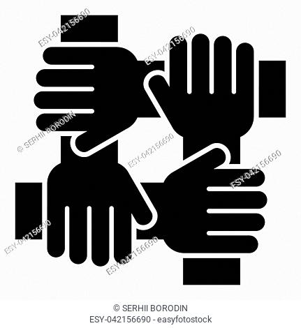 Four hand holding together team work concept icon black color vector illustration flat style simple image