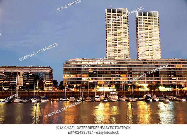 Night shot of the Puerto Madero in Buenos Aires, Argentina, South america