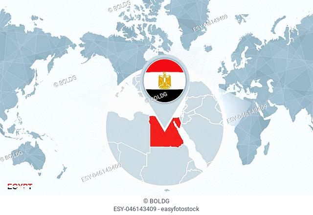 World map centered on America with magnified Egypt. Blue flag and map of Egypt. Abstract vector illustration