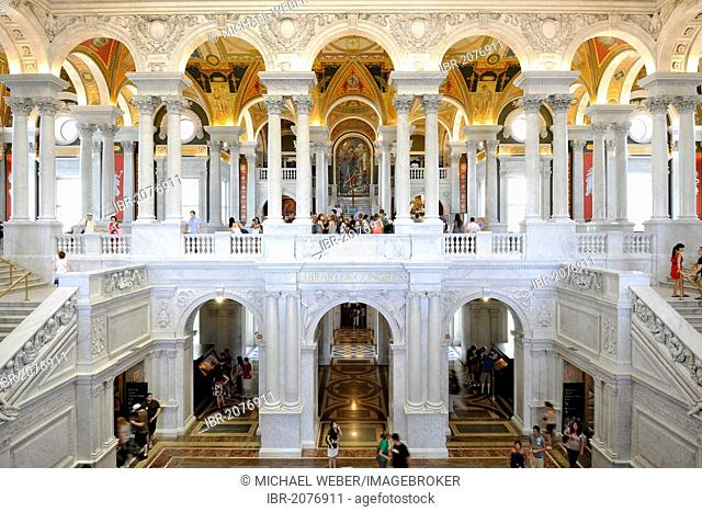Marble columns, marble arches, frescoes, mosaics in the magnificent entrance hall, The Great Hall, The Jefferson Building, Library of Congress, Capitol Hill
