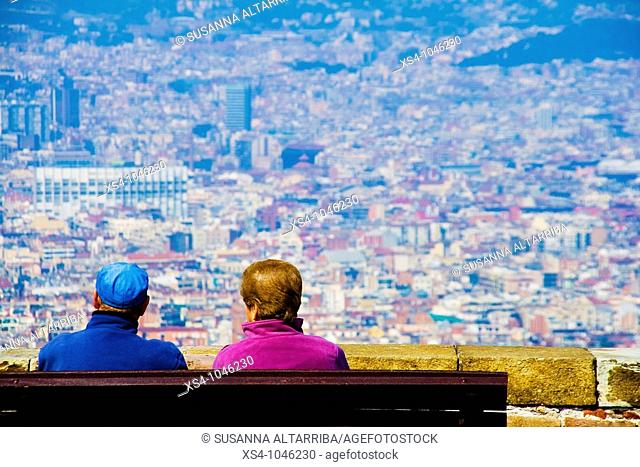 Contemplating Barcelona City from Montjuic Castle.Europe, Spain, Catalonia.March 2010