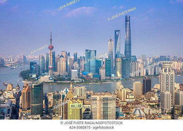 China, Shanghai City, Huangpu river,Pudong District, Lujiazui Area, Jin Mao Bldg. ,World Financial Center and Shanghai Tower