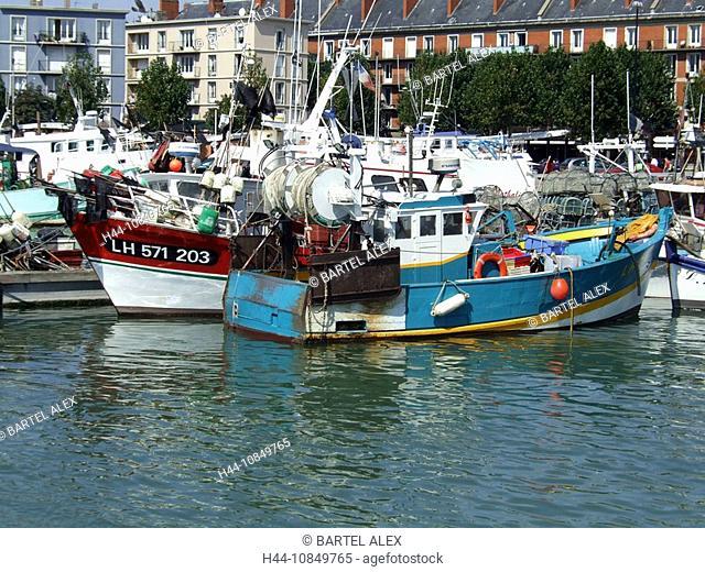France, Europe, Fishing harbor, Le Havre, Normandy, boats, fishery, ships, Atlantic coast