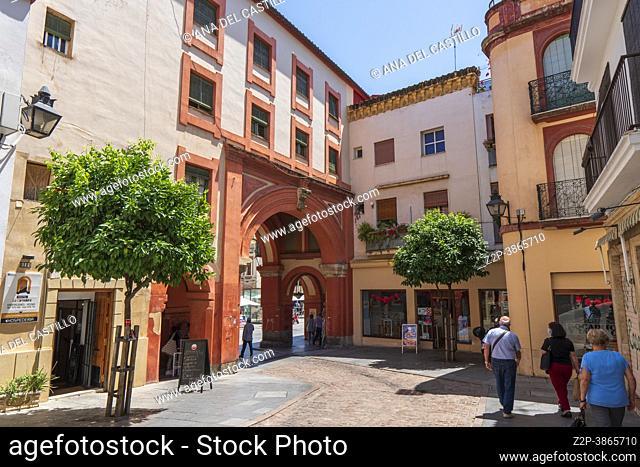 Cordoba Andalusia Spain Entrance to famous Corredera Square, Plaza de la Corredera in Cordoba, Spain. Plaza de la Corredera is a rectangular square - one of the...