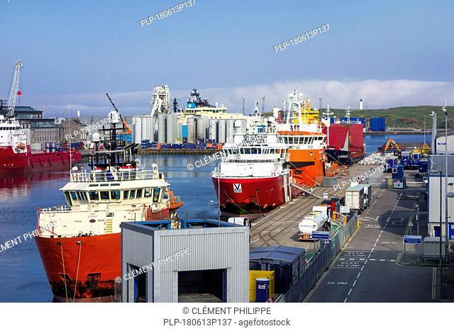 Vessels docked in the Aberdeen port / harbour, Aberdeenshire, Scotland, UK