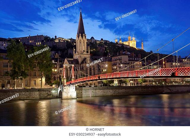 Panoramic night view of Lyon with Saone river, France