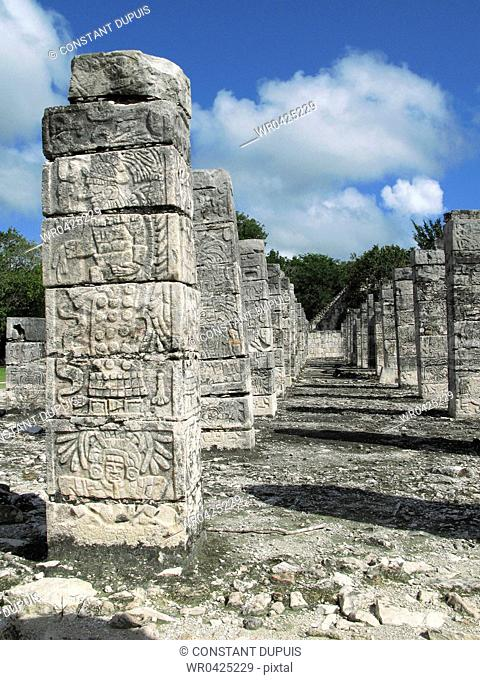 Old ruins of columns in a row, Temple Of Warriors, Chichen Itza, Yucatan, Mexico