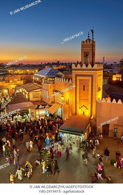 Djemaa el-Fna square at dusk, Marrakech, Morocco, Africa
