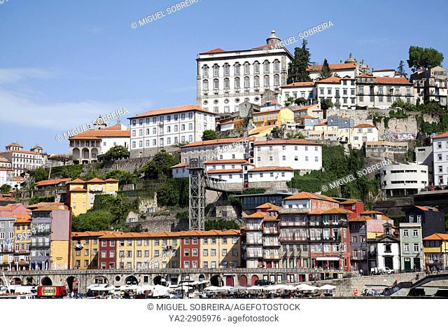 Ribeira Buildings on River Douro inPortugal