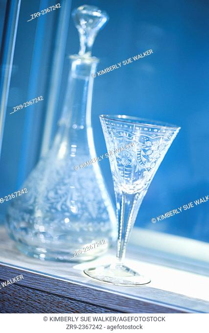 Finished crystal stemware, Moser Glass Factory, Karlovy Vary (Karlsbad), Czech Republic