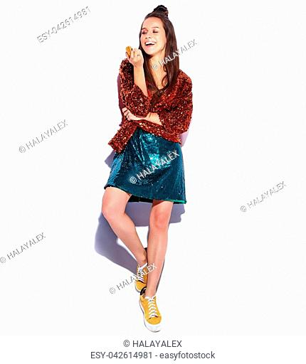 062d6ae0a26 Beautiful caucasian smiling hipster brunette woman model in bright shinny  reflecting summer stylish jacket and green