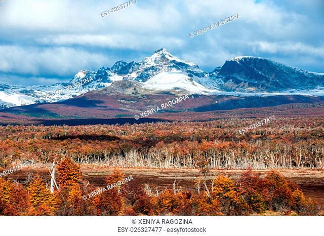 Autumn in Patagonia. Cordillera Darwin, part of Andes range, Isla Grande de Tierra del Fuego, Chilean territory, view from the Argentina side