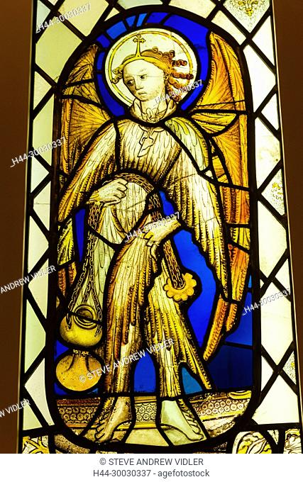 England, Devon, Exeter, Royal Albert Memorial Museum and Art Gallery aka RAMM, Stained Glass Angel Church Window dated 1460