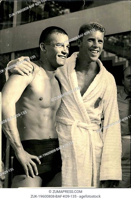 Aug. 08, 1960 - Americas takes first and second final: Gary Tobian of the for winning final of the 3 m. countryman S. Hall second