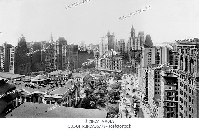 Broadway and City Hall Park South, New York City, New York, USA, 1908
