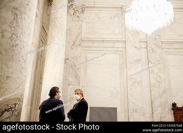 United States Senator John Neely Kennedy (Republican of Louisiana), right, talks with US Senate staff prior to the US Senate Judiciary Committee markup of the...